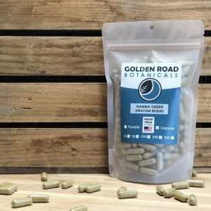 Golden Road Botanicals Gamma White Blended Kratom Capsules in a stand up pouch.