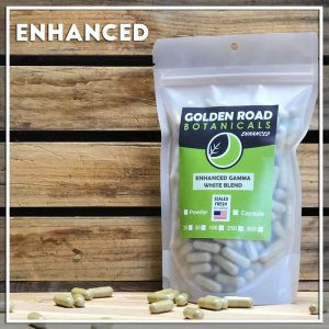 Golden Road Botanicals Enhanced Gamma White Blended Kratom Capsules in a stand up pouch.