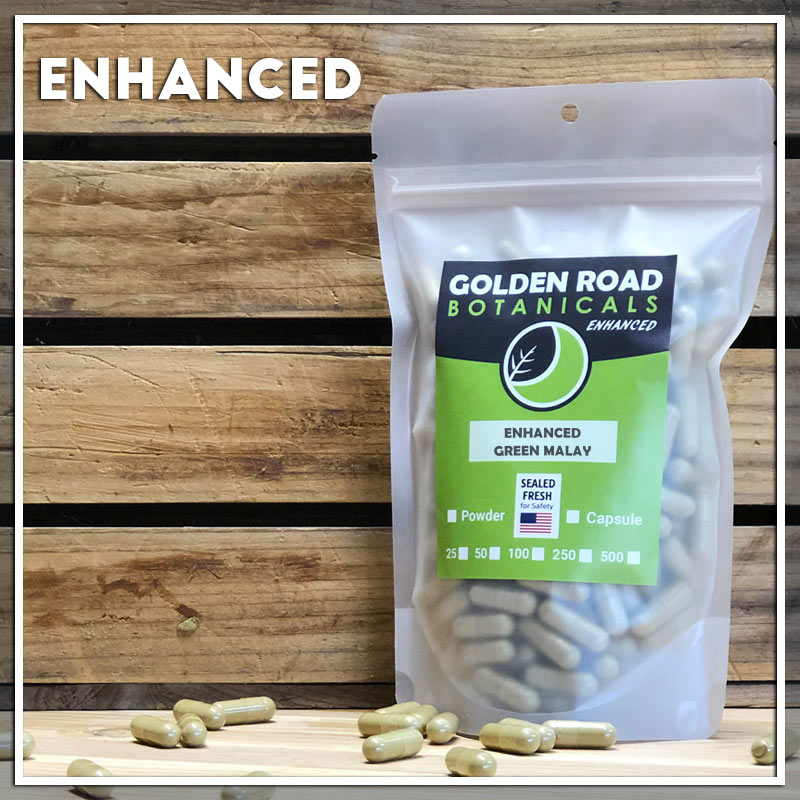 Golden Road Botanicals Enhanced Green Malay Kratom Capsules in a stand up pouch.